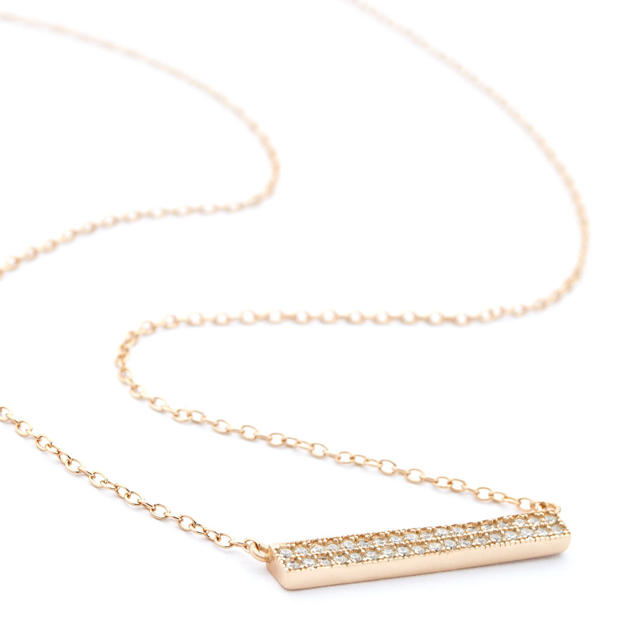 Rose gold 4mm double row crystal ingot bar necklace from the Allobar Collection One by One