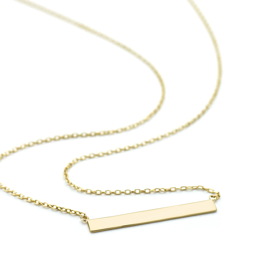 Yellow gold vermeil finish Allobar 4mm plain flat ingot necklace 40cm chain sterling silver core metal