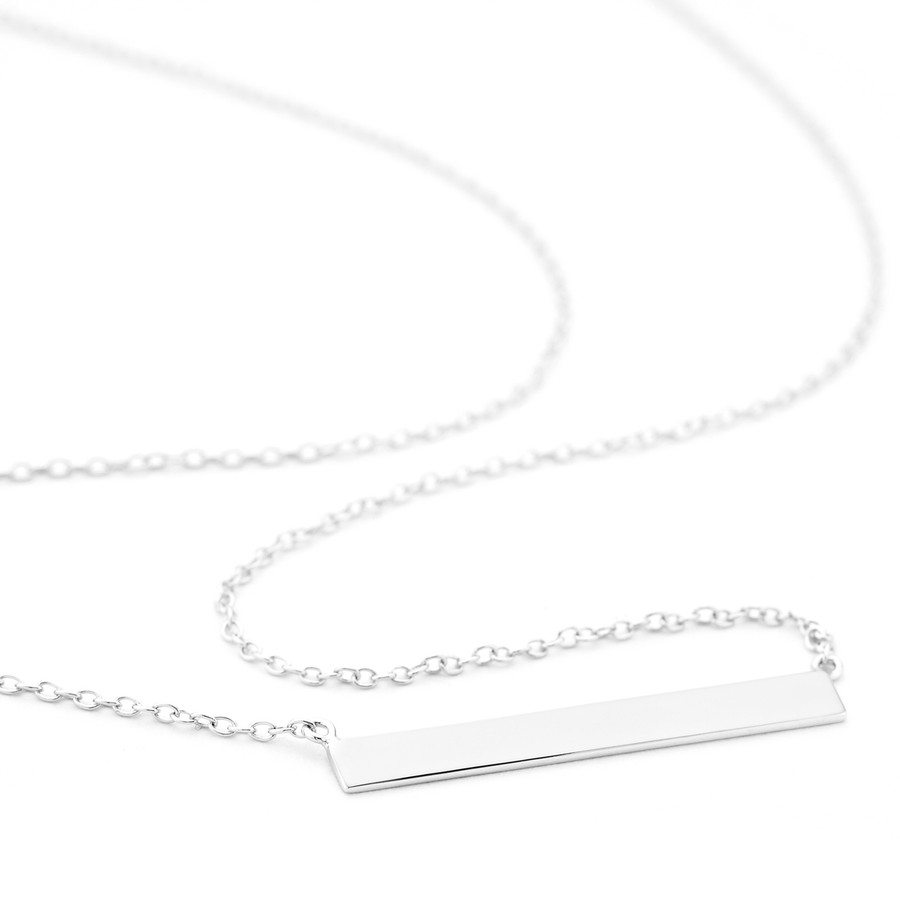 Silver 4mm wide flat bar necklace