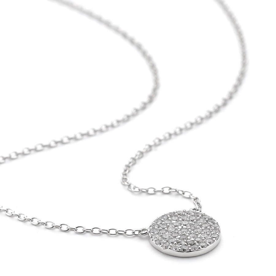White rhodium over sterling silver white crystal disc necklace in Constellations collection of One by One