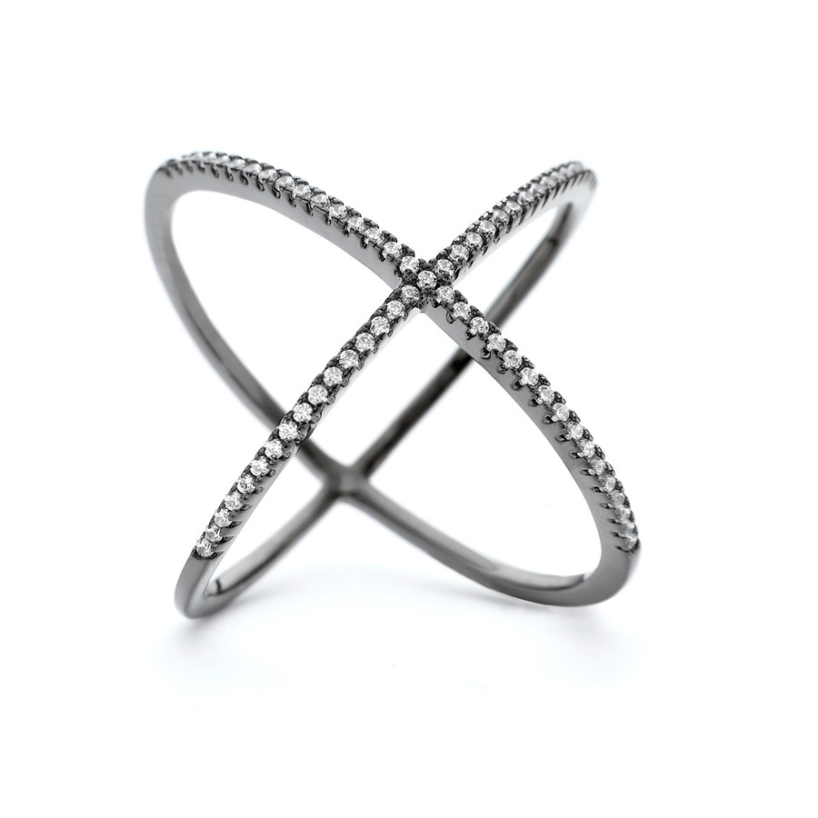 Black rhodium plate atomic ring with crystals in sterling silver core metal from One by One