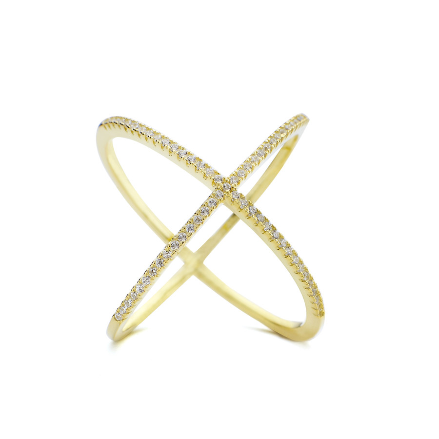Crystal set atomic shaped Allobar ring in yellow gold vermeil over silver from One by One