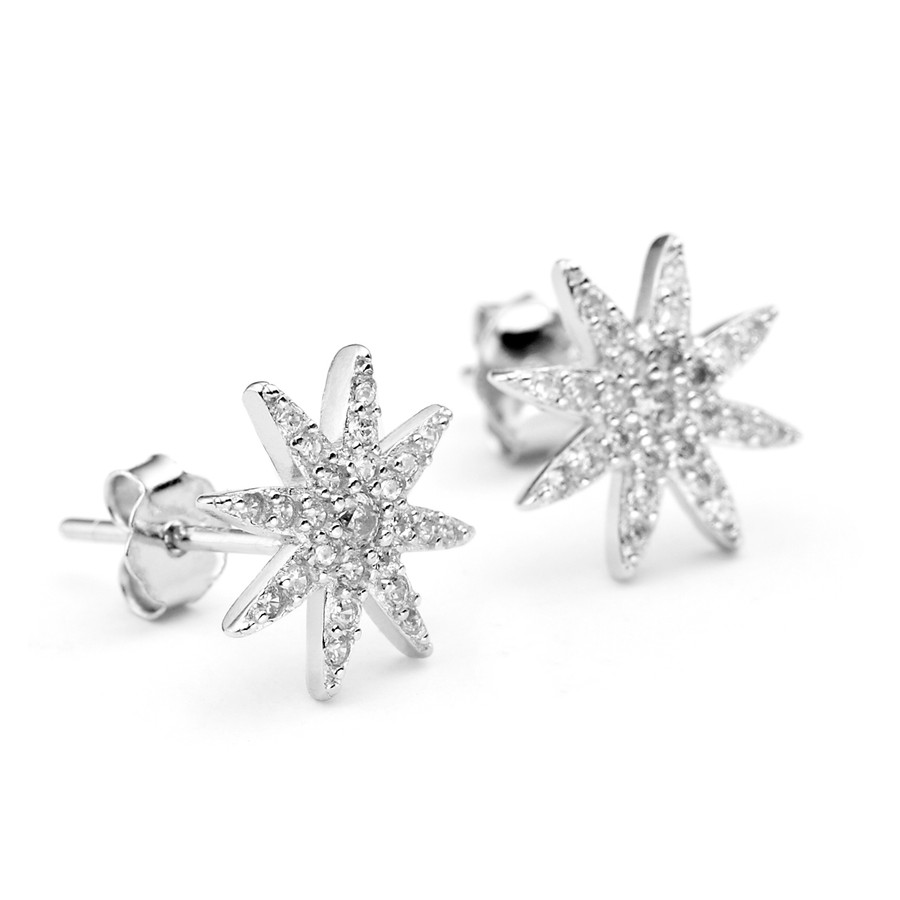 Starburst shaped white rhodium over sterling silver core metal CZ stud earrings from One by One