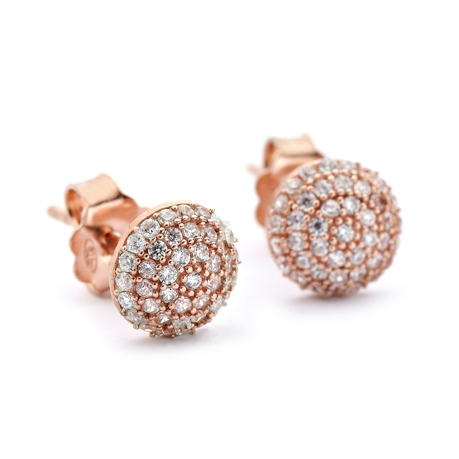 crystal pave round domed studs earrings rose gold vermeil