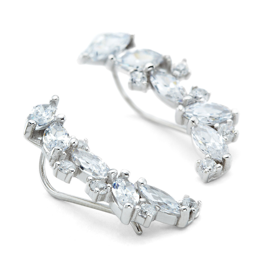 One by One Navette Crystal Cuff Earrings in Sterling Silver in the Constellations collection