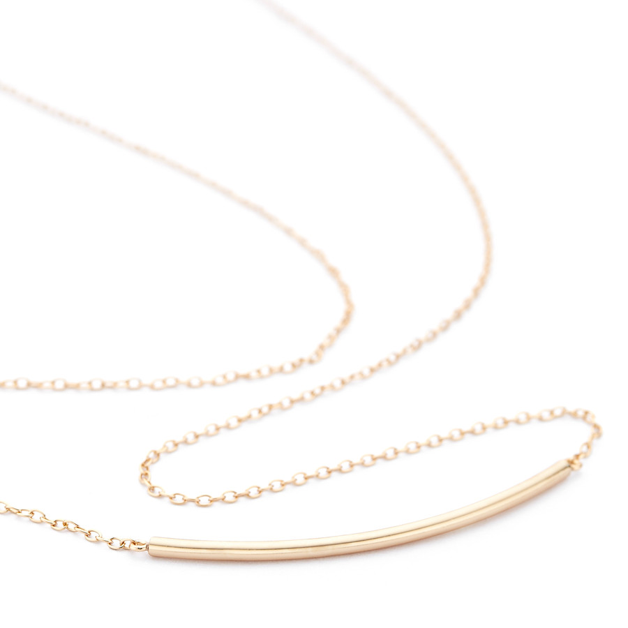 Rose gold vermeil over sterling silver Allobar curved ingot necklace from One by One