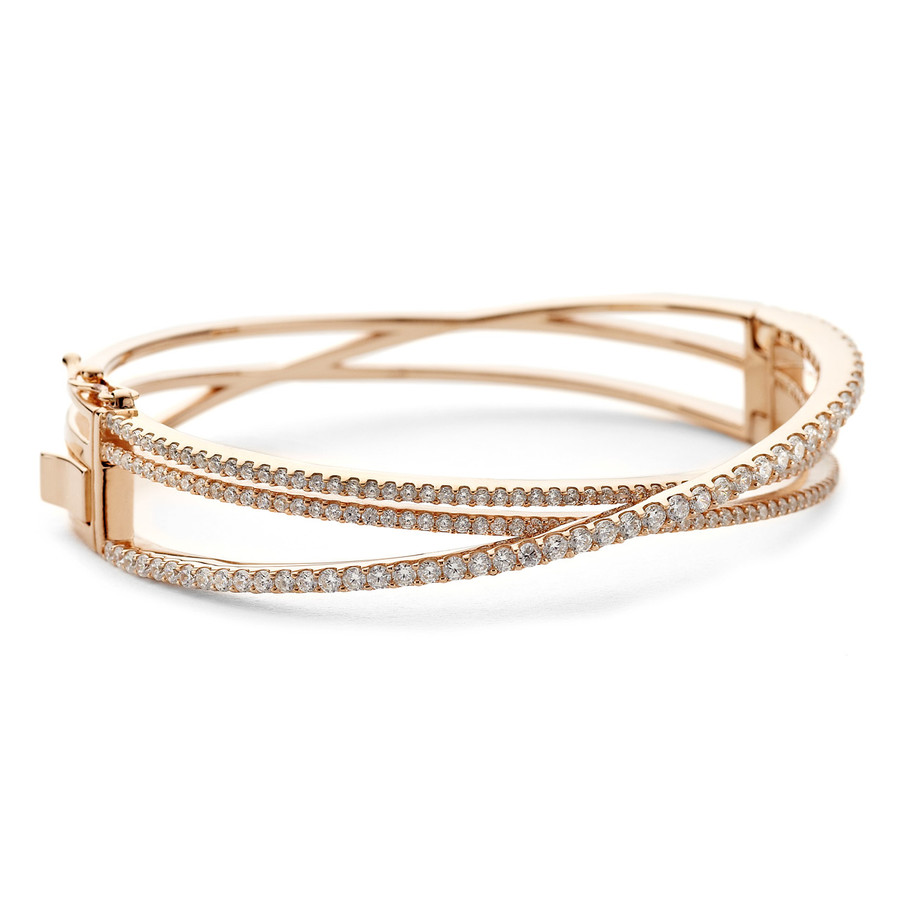 crossover cz bangle rose gold vermeil