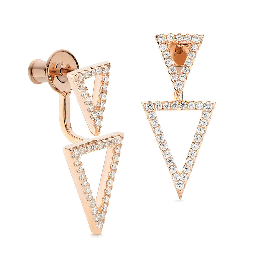 dual triangle crystal swinging earrings rose gold