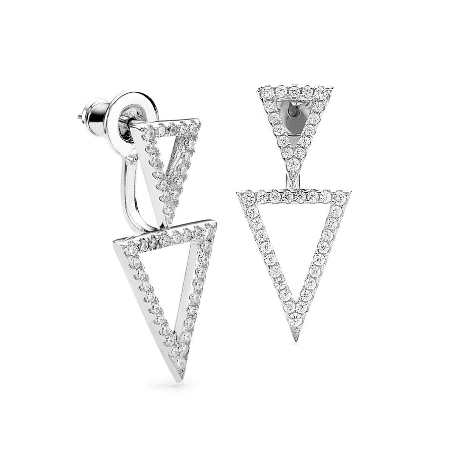 sterling silver dual triangle cz swing earrings