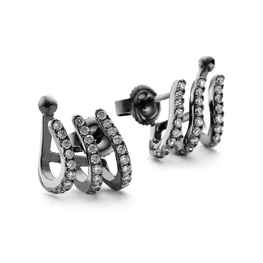 crystal black rhodium cuff earrings