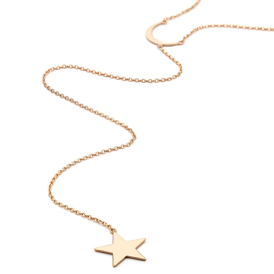 moon and star long lariat necklace - rose gold vermeil