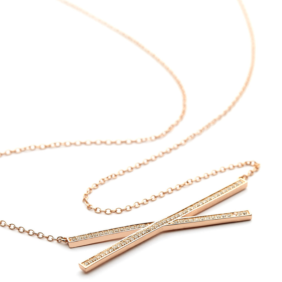 criss cross bar necklace cz pave - rose gold vermeil