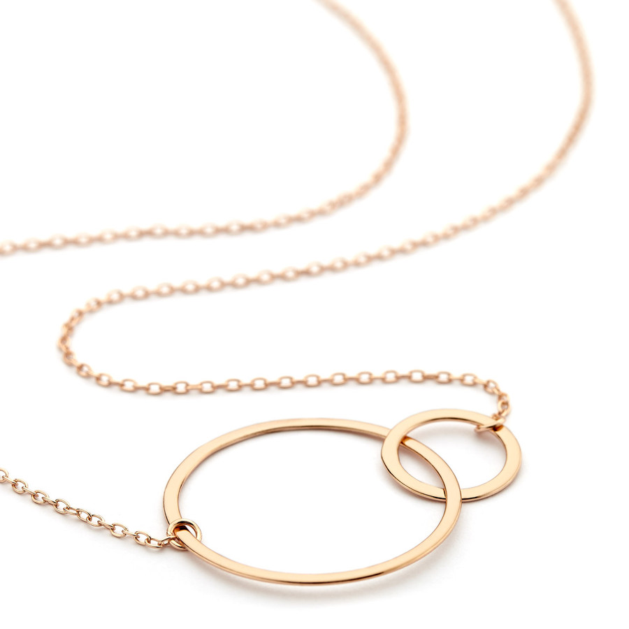 double circle necklace - rose gold vermeil
