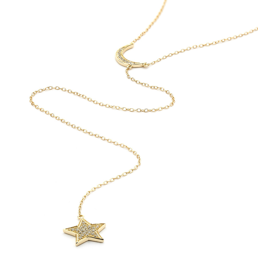 crystal pave moon and star long lariat necklace - gold vermeil