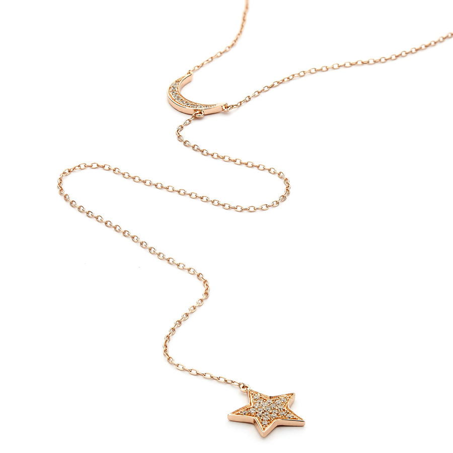 moon and star lariat necklace crystal pave - rose gold vermeil