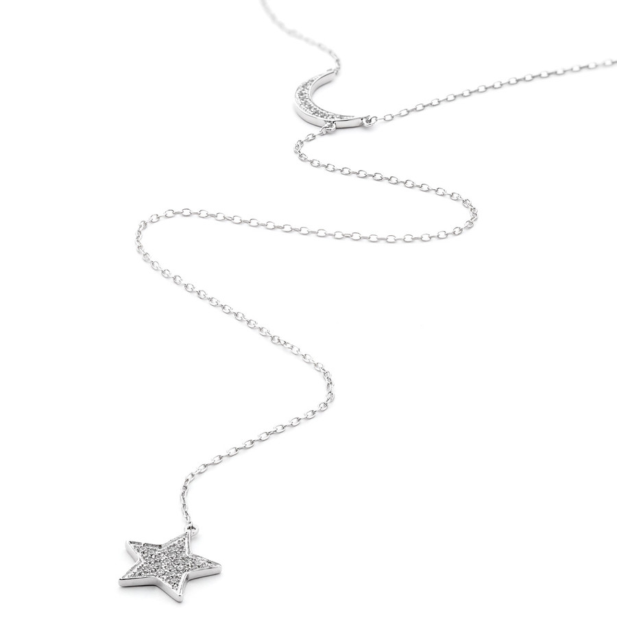 sterling silver moon and star lariat necklace crystal pave