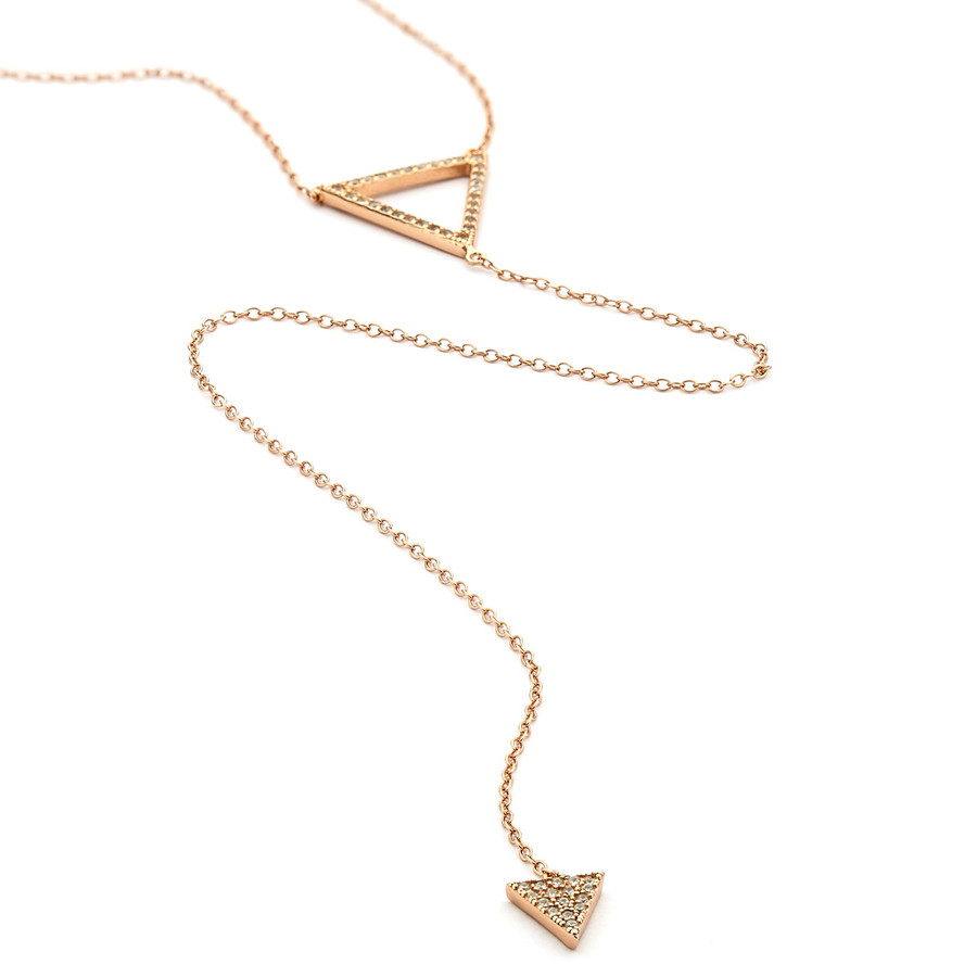 cz pave double triangle long lariat necklace - rose gold vermeil