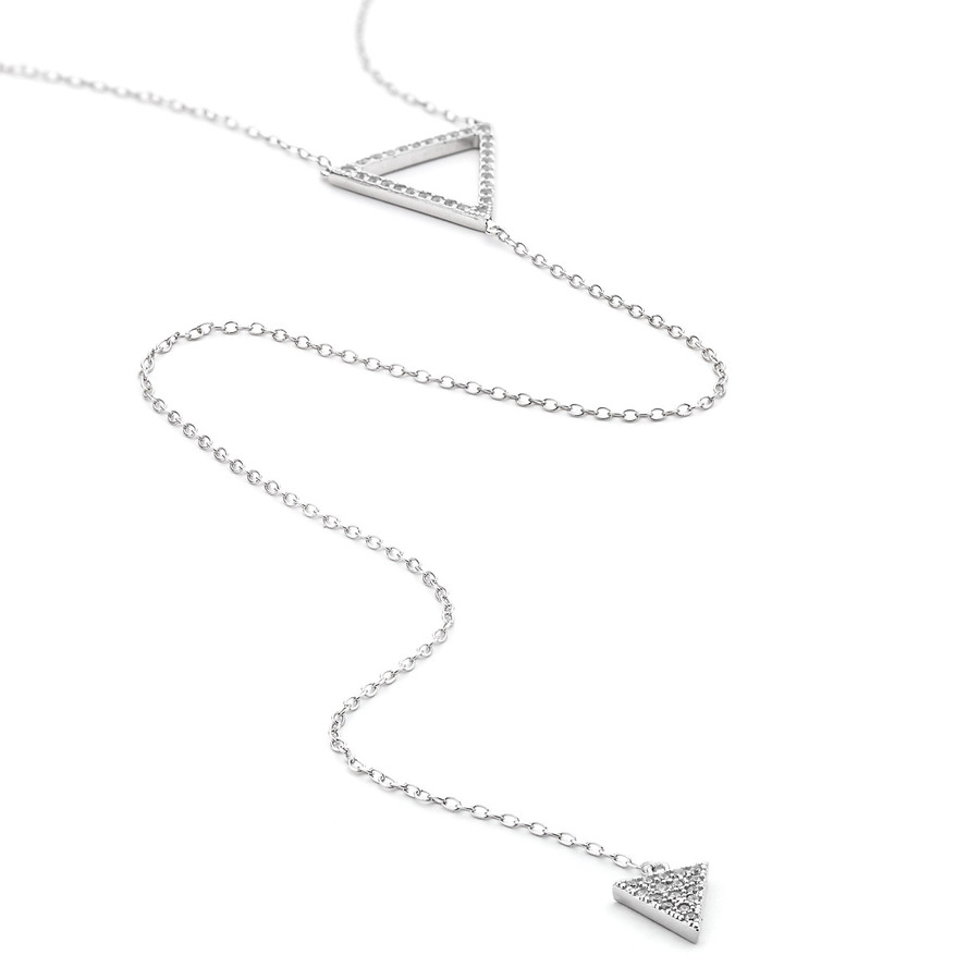 sterling silver cz pave double triangle long lariat necklace