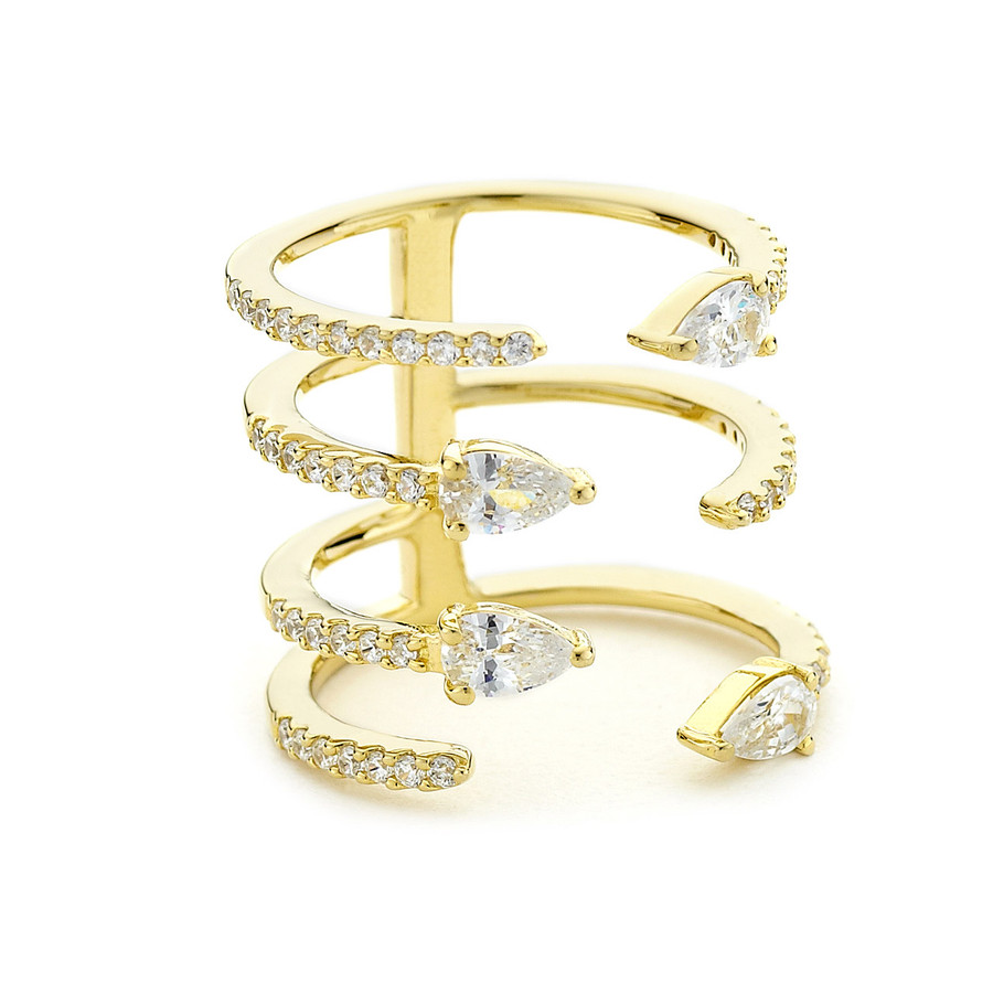 pave and pear crystals open stacking ring yellow gold