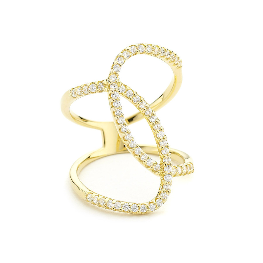 curvy crystal ring - yellow gold ring