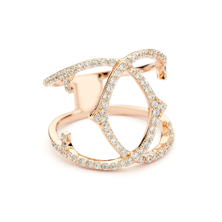 spur crossover ring cz pave -rose gold vermeil