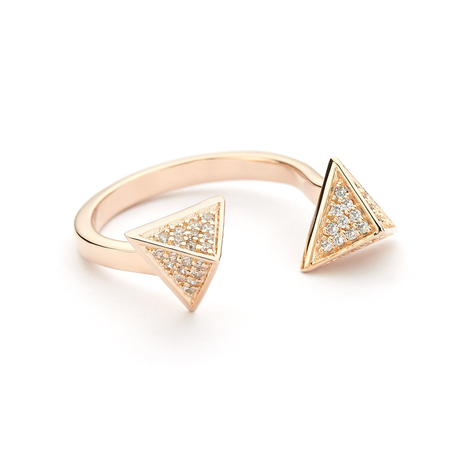 pyramid open ring cz pave - rose gold vermeil