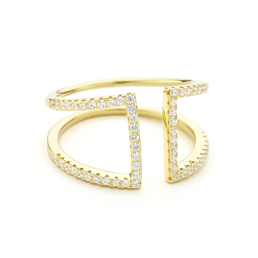 crystal pave open ring - yellow gold vermeil