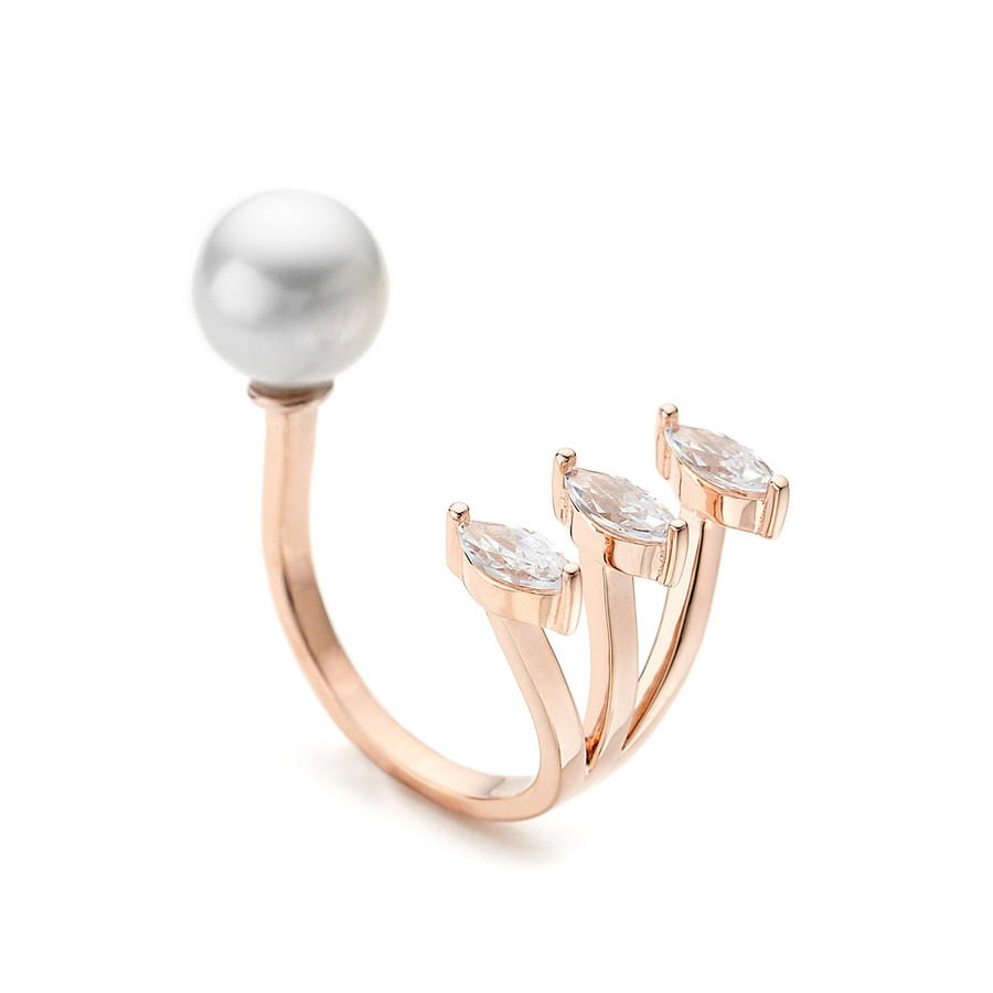 pearl open ring facetted pear czs - rose gold vermeil