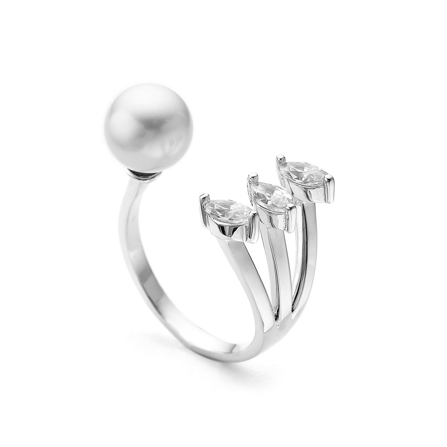 sterling silver pearl and pear facetted cz open ring