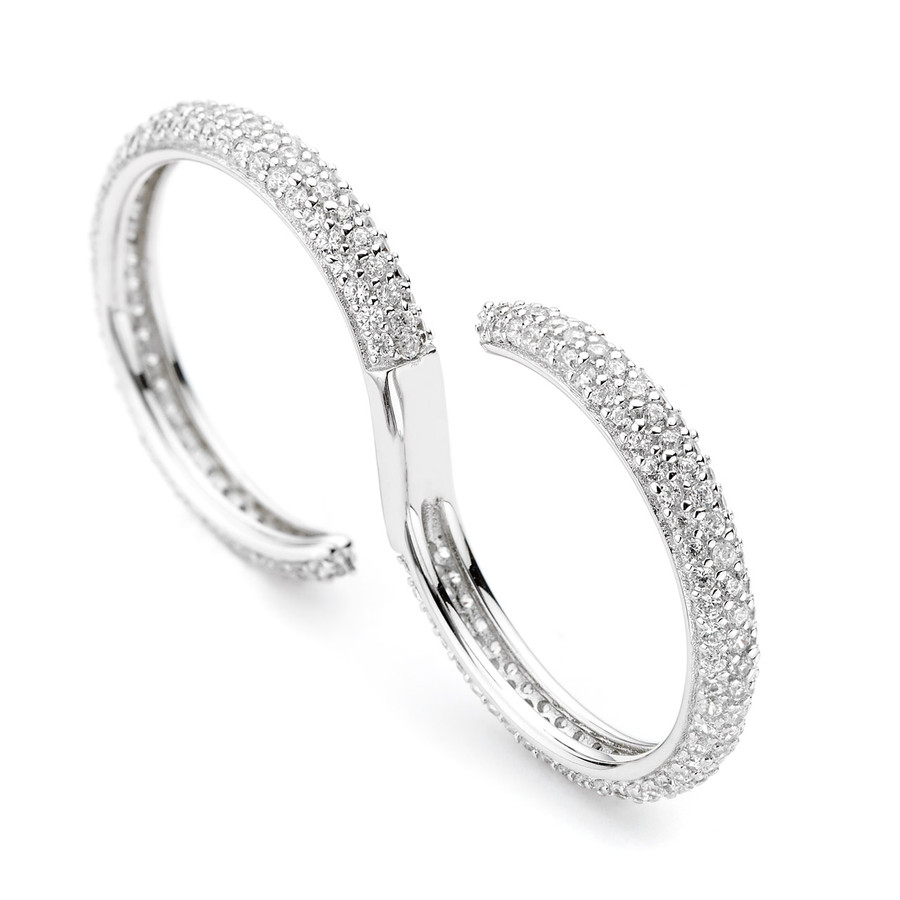wave pave crystals open ring - white czs sterling silver