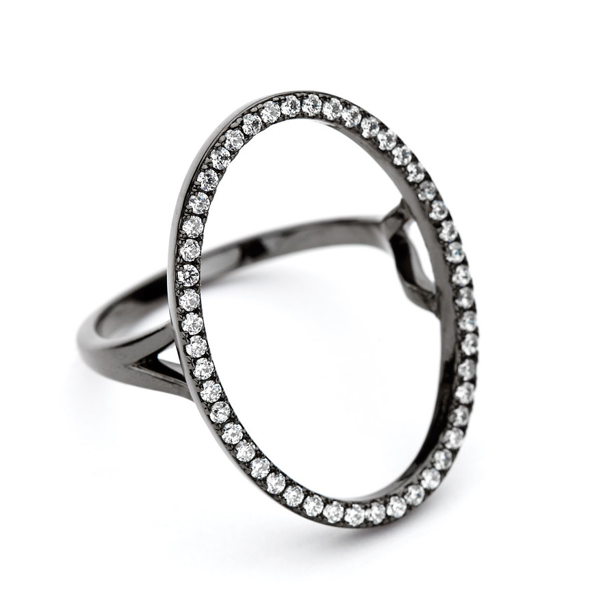 oval open circle ring cz pave - black rhodium