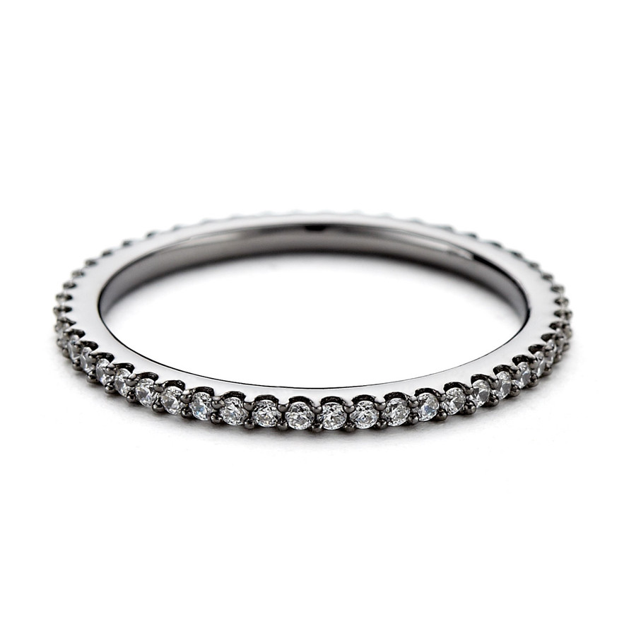 cz eternity stacking ring - black rhodium