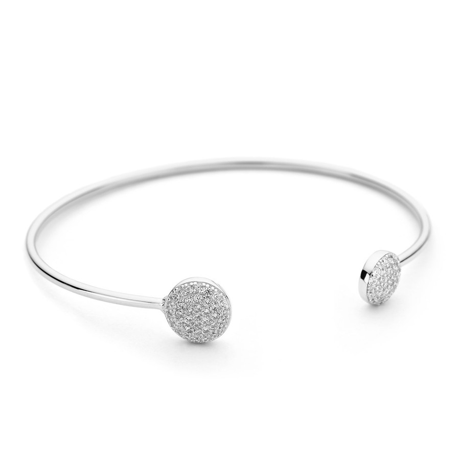 Sterling silver bangle dual cz pave discs