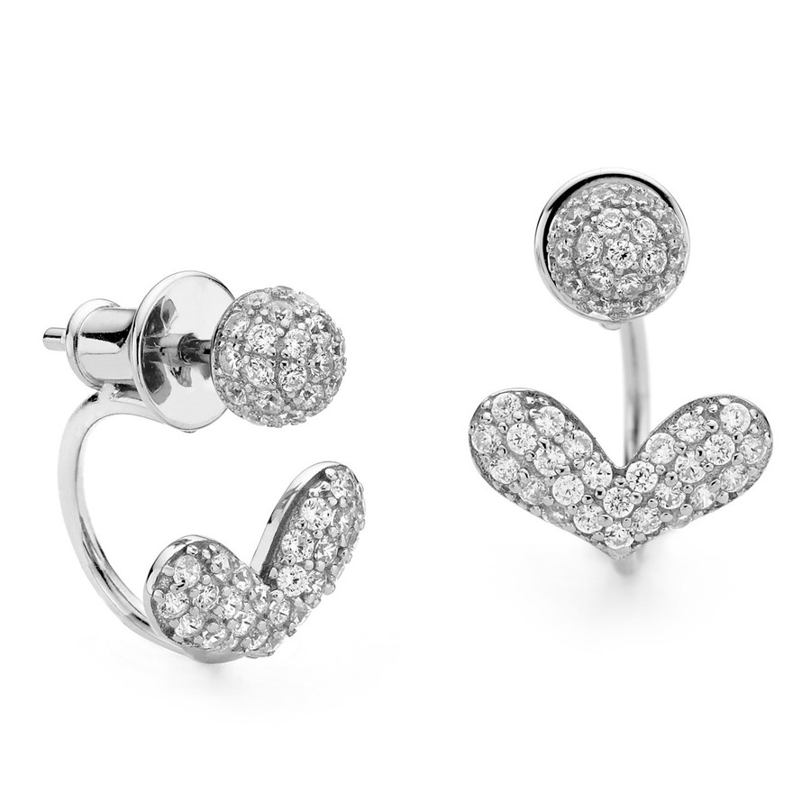 Sterling silver swing earrings front and back heart pave