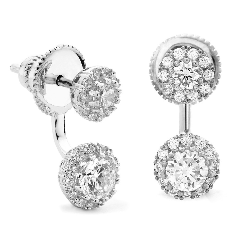 Silver swing earrings with cz  halos front and back