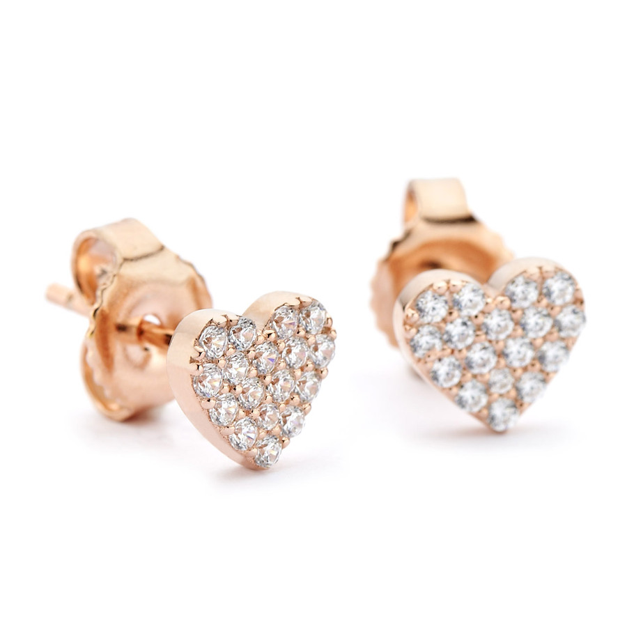 Cubic zirconia pave my heart rose gold stud earrings