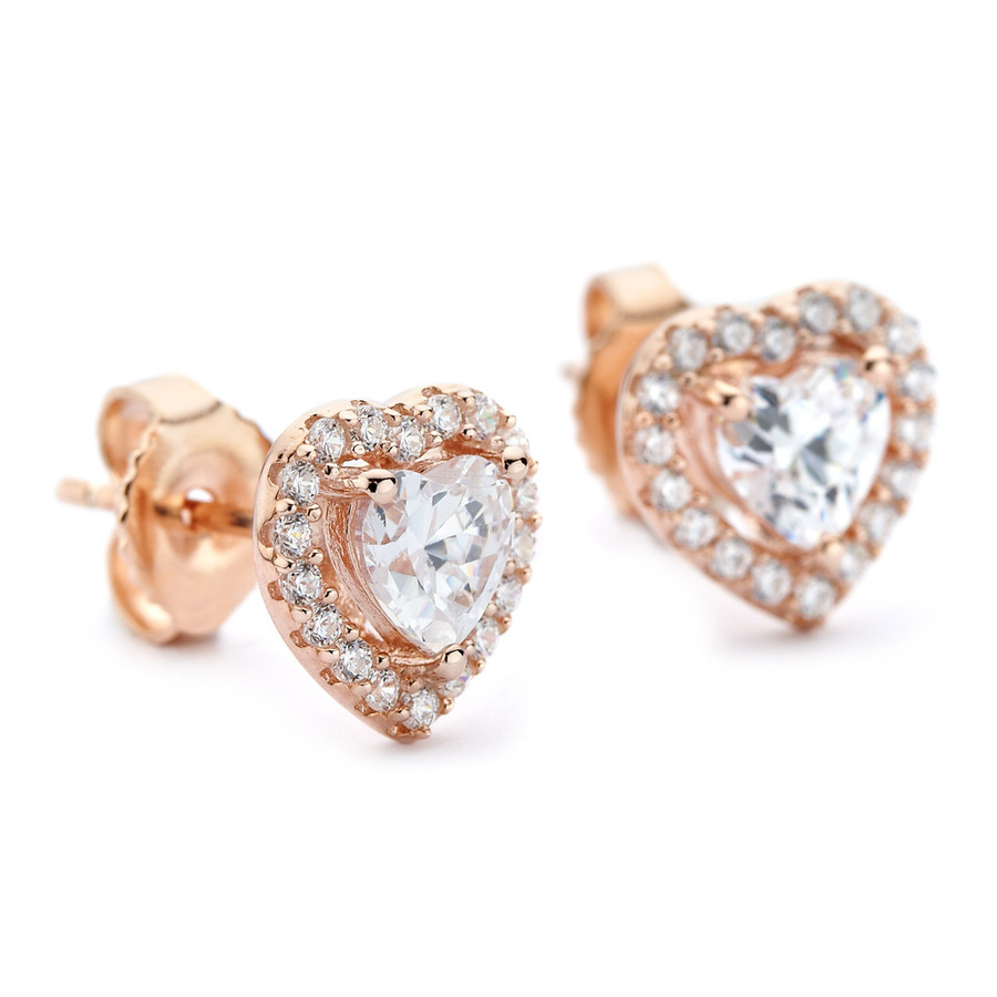 Rose gold heart in heart earrings cubic zirconia halo
