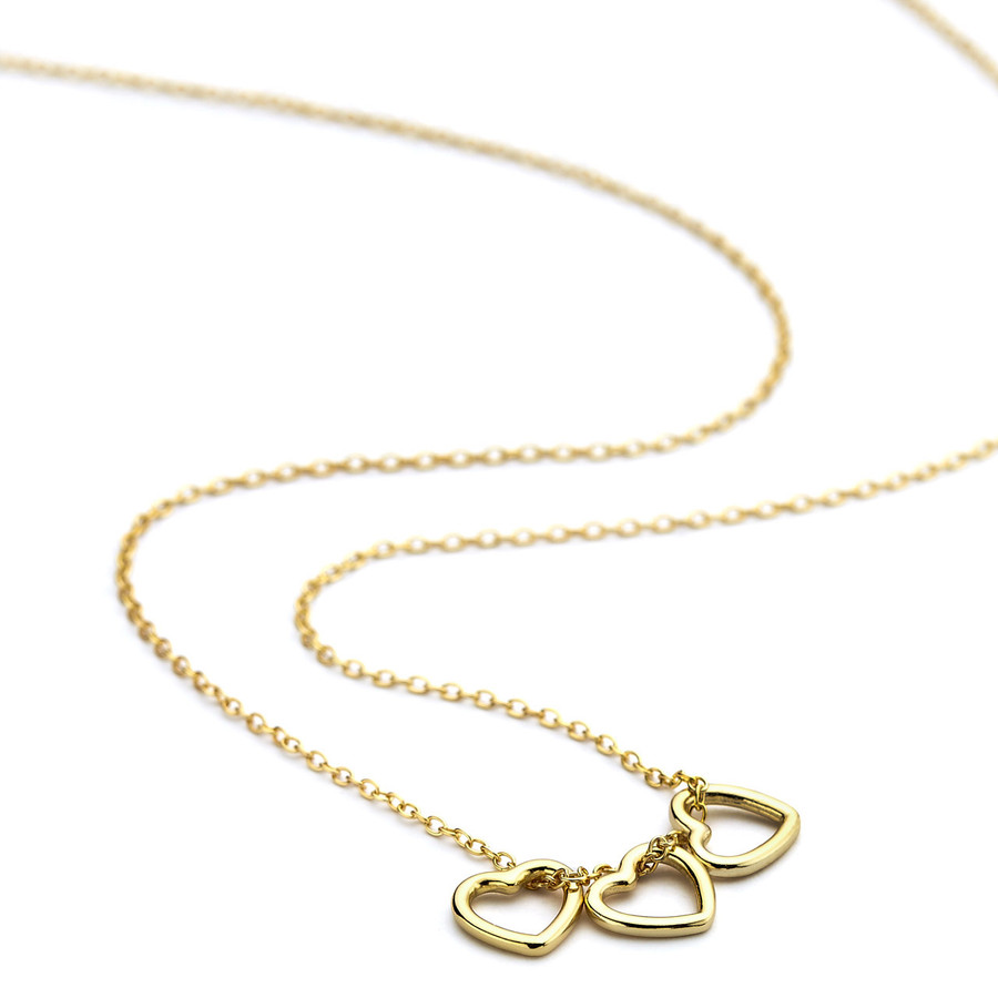 Triple heart necklace gold