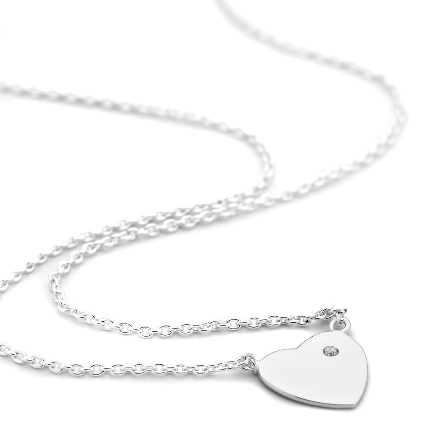 Sterling silver heart necklace cz solitaire