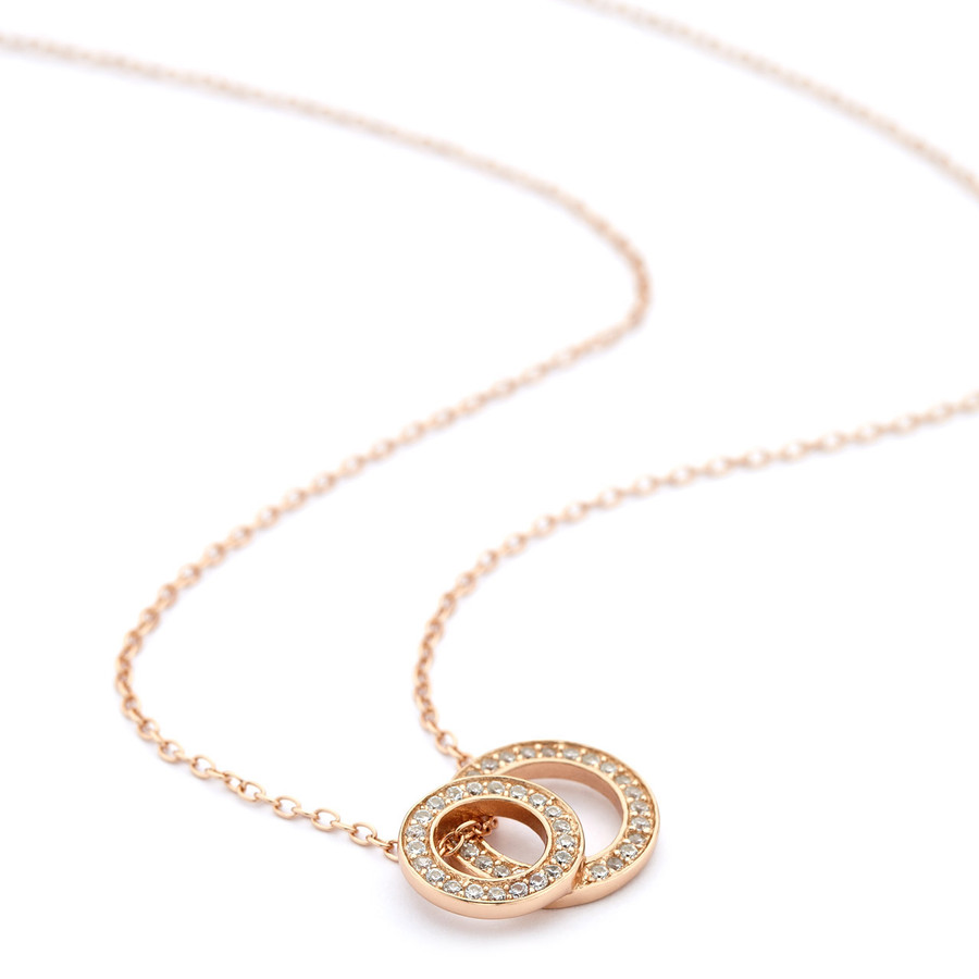 Rose gold stacked open circles necklace