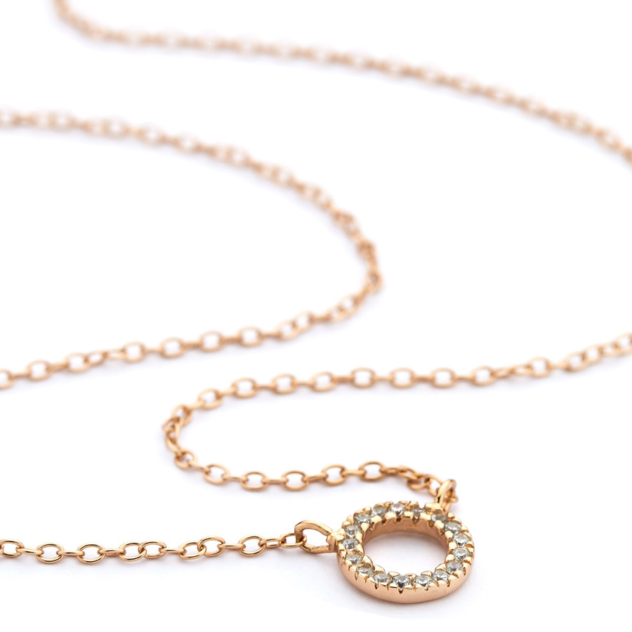Rose gold cz-set open circle pendant necklace