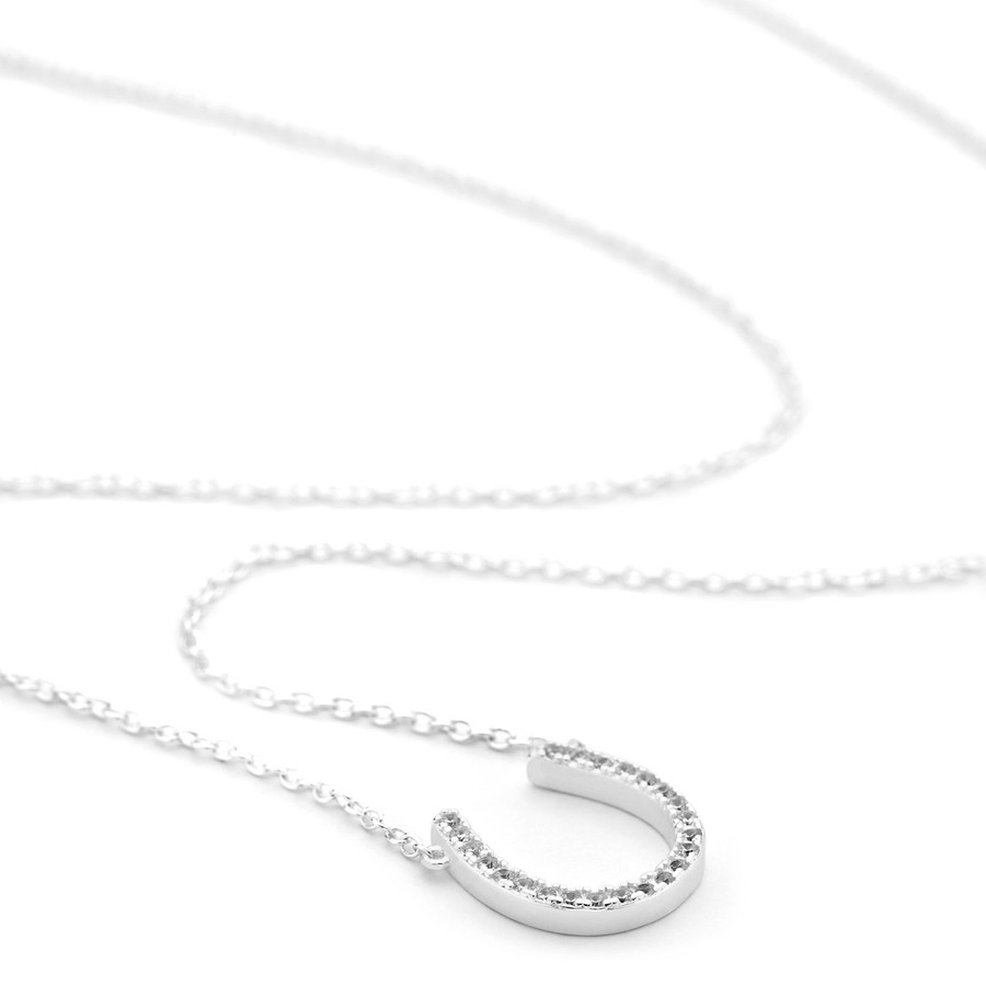Sterling silver horseshoe necklace channel-set czs