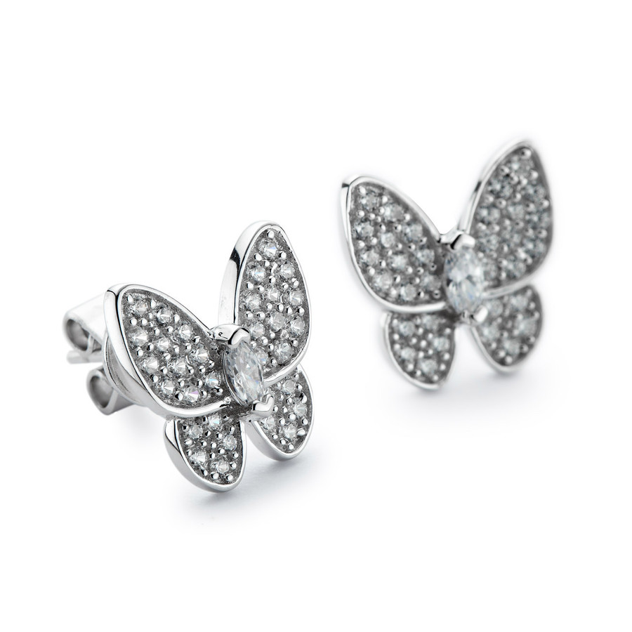 Sterling silver butterfly stud earrings w cz