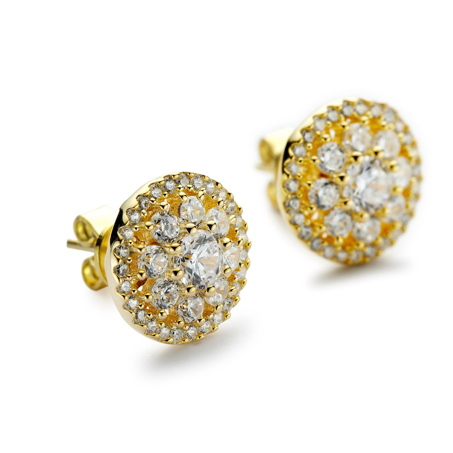 Gold round cluster cz halo stud earrings