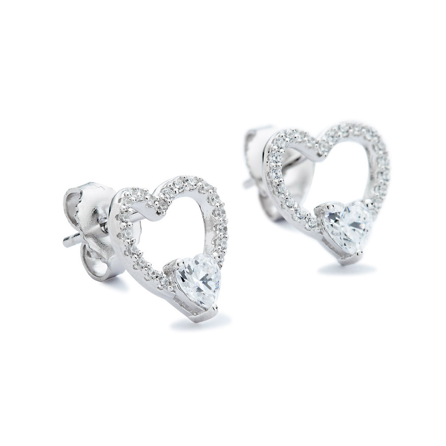Sterling silver double heart cz stud earrings