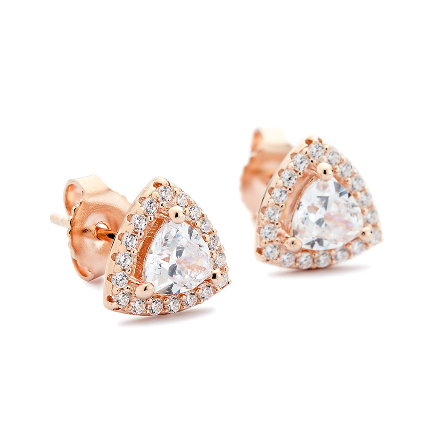 Rounded triangle cz studs earrings rose gold