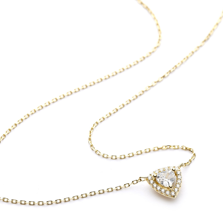 Rounded triangle halo cz necklace yellow gold