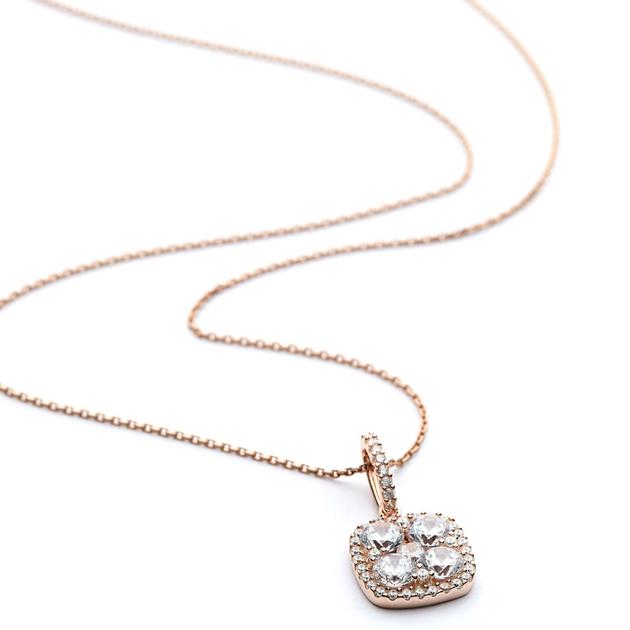 Square pendant necklace cluster cz   rose gold