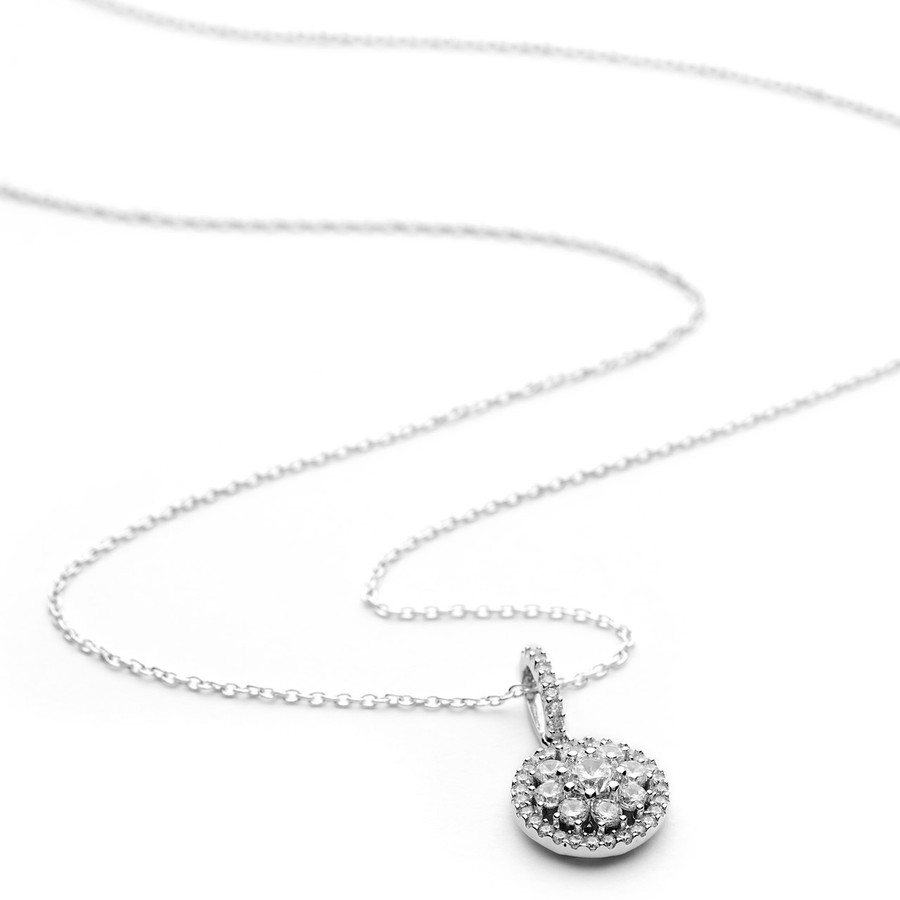 Silver cluster cz round shaped necklace pendant