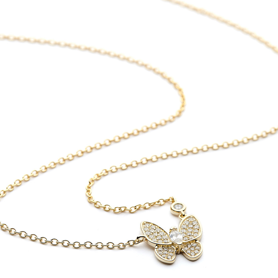 Butterfly necklace gold vermeil